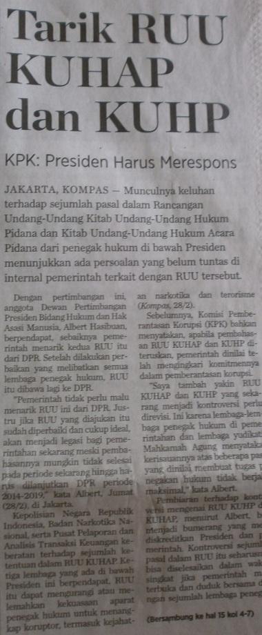 Pedang Tajam KPK - Kompas 1 Maret 2014